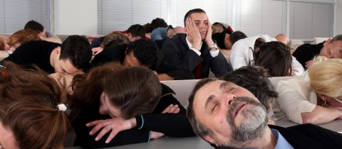 People falling asleep in a presentation