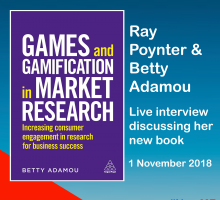 Promotional graphic advertising the Ray Poynter and Betty Adamou interview about her book Games and Gamification in Market Research